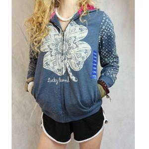 Lucky Brand Tops - NWOT Lucky Brand Sweatshirt Clover Zipper Hoodie !